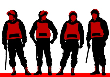 body guard: Vector image of police in form of protective Illustration