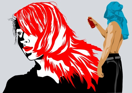 rebellion: Vector drawing with spray paint men and girl Illustration