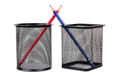 Color photo of pencils in a metal cup photo