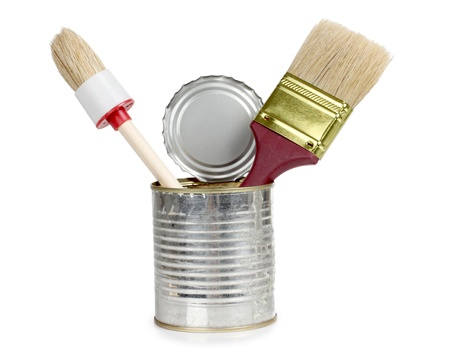 Color photo of brush in a metal can photo