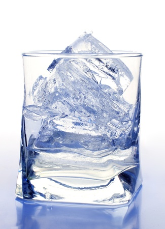 Color photograph of glasses and ice photo