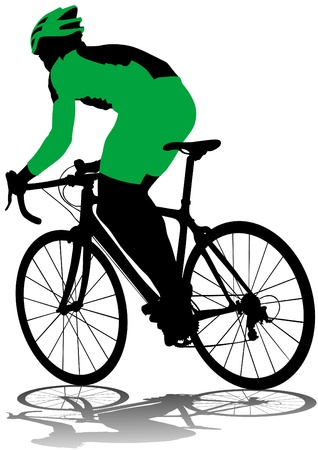 racing bike:  drawing silhouette of a cyclist boy