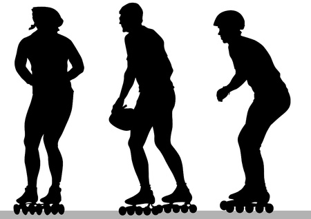 drawing people athlete on skates Vector