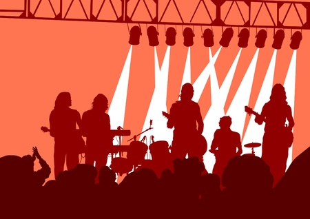 singing silhouette:  image of musical group and audience