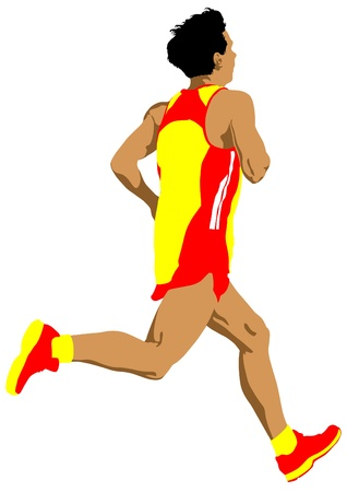 marathon running: competition run among man Illustration