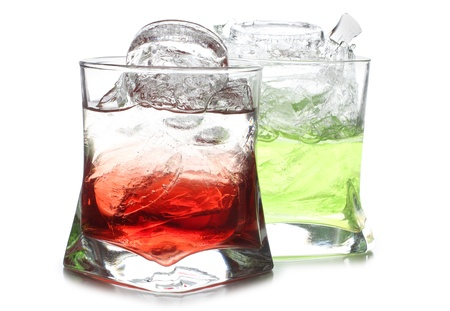 Color photograph of cocktails in glass beakers photo