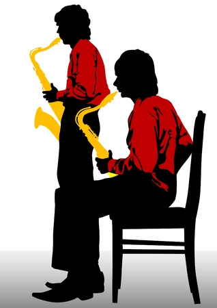man with saxophone on stage Vector