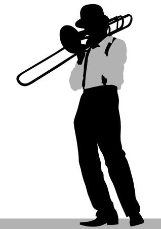 trompeta: el hombre con la trompeta en el escenario Vectores