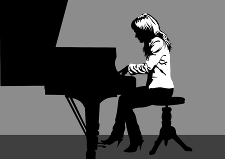 woman playing piano on stage Vector