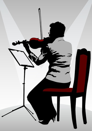 woman with a violin on stage Vector
