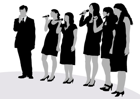 singing silhouette:  image of young singers with microphones