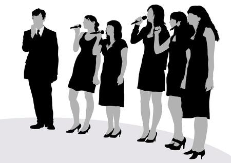 beeld van de jonge zangers met microfoons