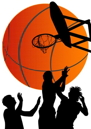 basketball net: Vector graphic basketball. Silhouette man with ball Illustration