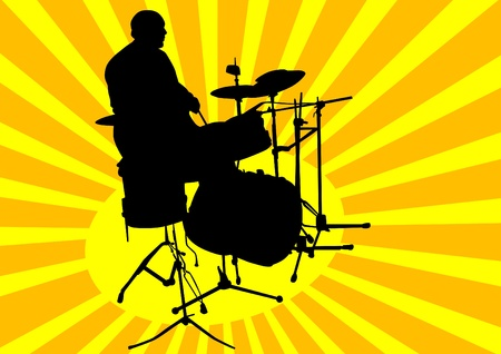 drum kit: Vector graphic man with drummer at concert