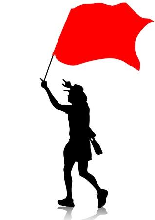 drawing man with revolution flag Illustration
