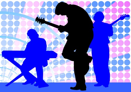 Vector drawing mans with guitar and keyboards Vector