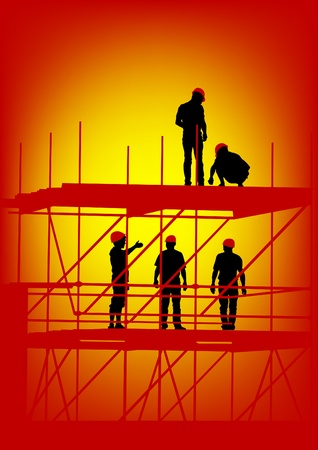Vector drawing of building structures and worker on dais Vector