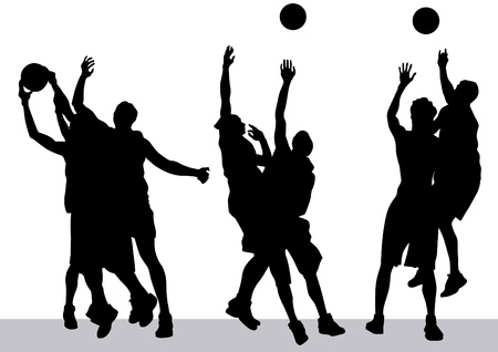 Vector graphic basketball. Silhouette man with ball Vector