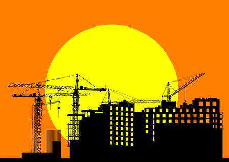 Vector image of construction cranes and buildings Stock Vector - 12864395