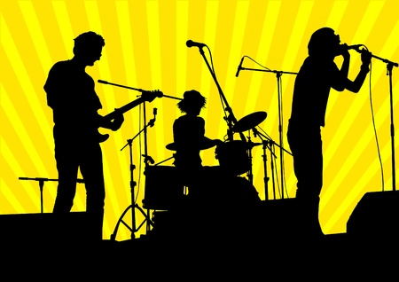 guitarists: Vector image of musical group and audience