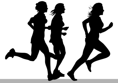 running silhouette: Vector drawing competition run among women