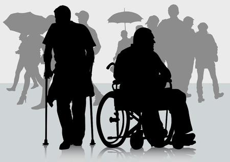 paraplegico: Gráfico vectorial discapacitados en silla de ruedas. Siluetas de personas