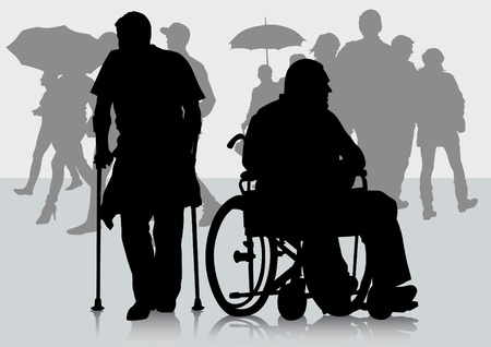 Vector graphic disabled in a wheel chair. Silhouettes of people Vector