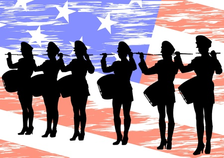 marching: Vector image of young girls with drums