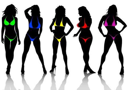 sexy woman disco: Vector drawing slim and beautiful girls in bikini