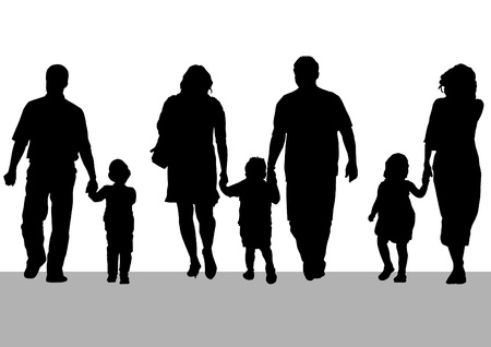 mentor: Vector drawing parents and childs Illustration