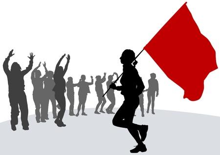 revolucionario: Vector mujer de dibujo con la revoluci�n del pabell�n Vectores