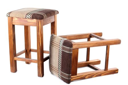 Color photo of an old wooden stool