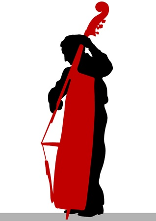 contrabass: Vector drawing of a man with an acoustic bass
