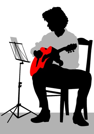 playing folk: Vector drawing of a man with an acoustic guitar
