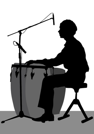 Vector graphic drummer at concert