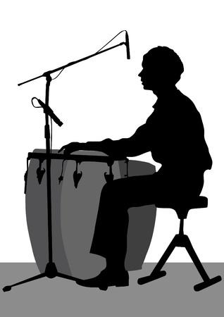 bongos: Vector graphic drummer at concert
