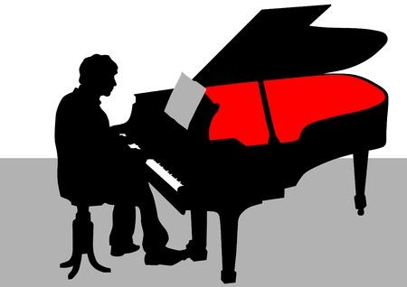 tocando el piano: Dibujo vectorial de un piano de hombre que juega en el escenario