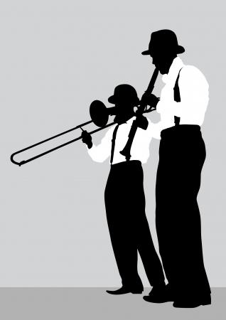 trombon: Dibujo vectorial de un Mans con el trombón y el clarinete en el escenario Vectores