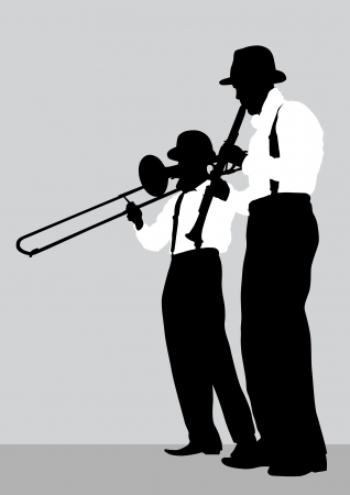 Vector drawing of a mans with trombone and clarinet on stage Vector