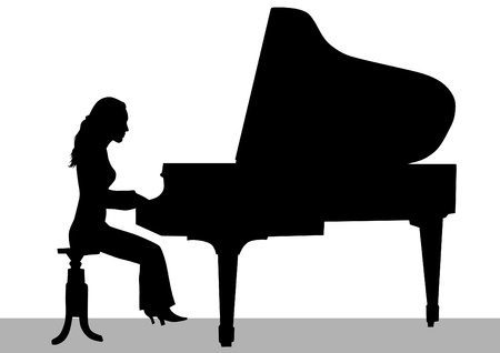 musician silhouette: Vector drawing of a woman playing piano on stage