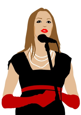 Vector image of young singers with microphones Vector