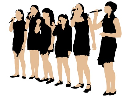 singing silhouette: Vector image of young singers with microphones Illustration