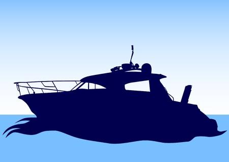 speed boat: Dibujo vectorial de un barco grande del mar