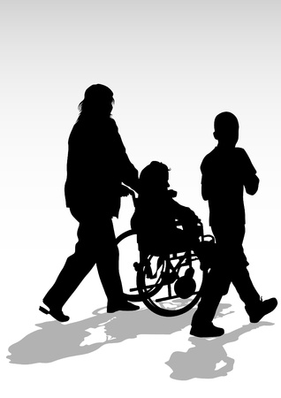 medicine wheel: Vector graphic disabled in a wheel chair. Silhouettes of people Illustration
