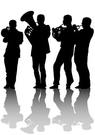 bocinas: Dibujo vectorial de la orquesta de jazz de edad Vectores