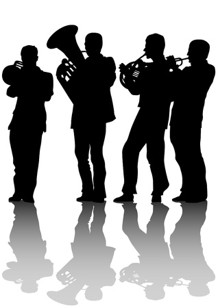 Vector drawing of old jazz orchestra Vector
