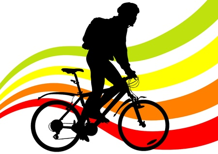 cycling helmet: Vector drawing silhouette of a cyclist boy