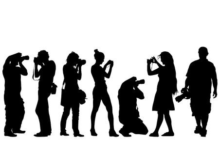 fotografi: Vector immagine di giovani fotografi con attrezzature sul luogo di lavoro
