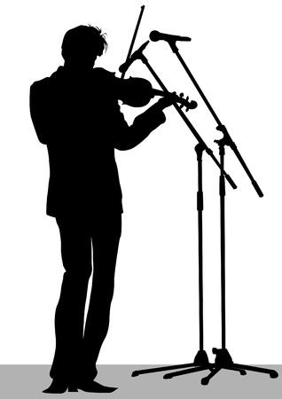 violist: Vector tekenen van een violist spelen tijdens een concert Stock Illustratie