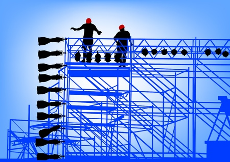 Vector drawing of building structures and worker on dais
